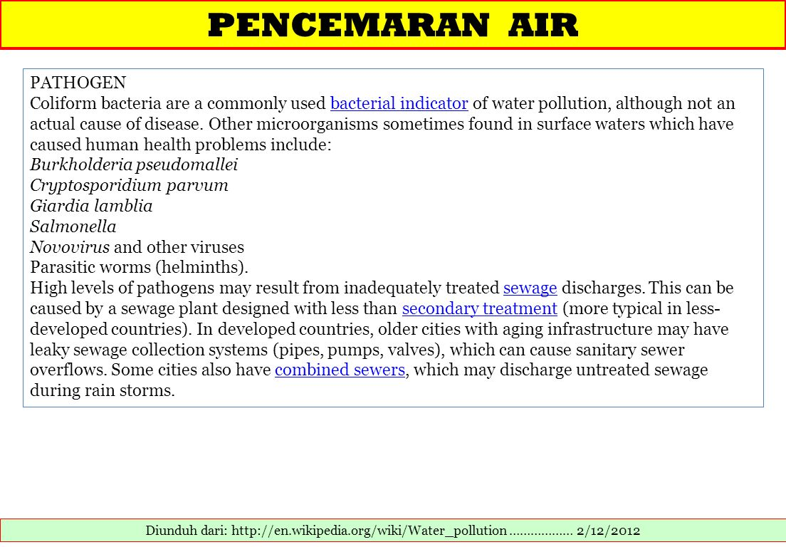 PENCEMARAN AIR PATHOGEN