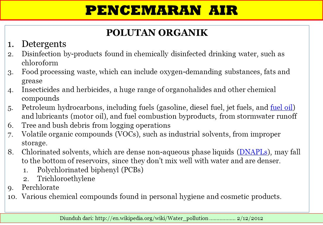 PENCEMARAN AIR POLUTAN ORGANIK Detergents