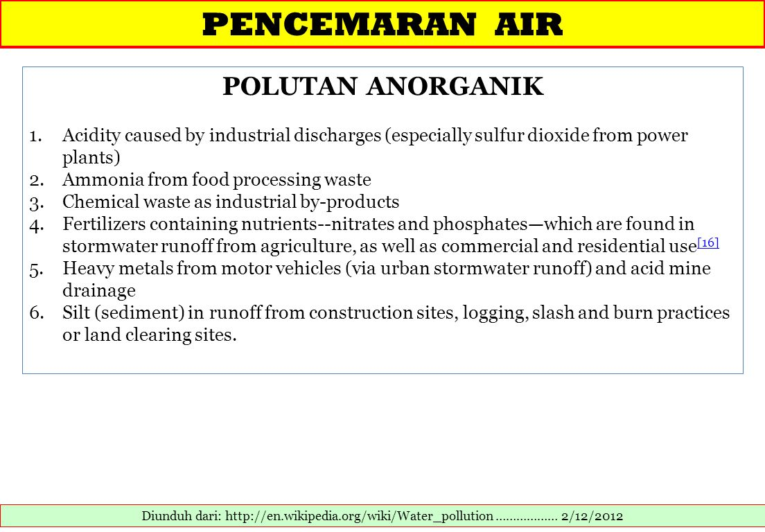 PENCEMARAN AIR POLUTAN ANORGANIK
