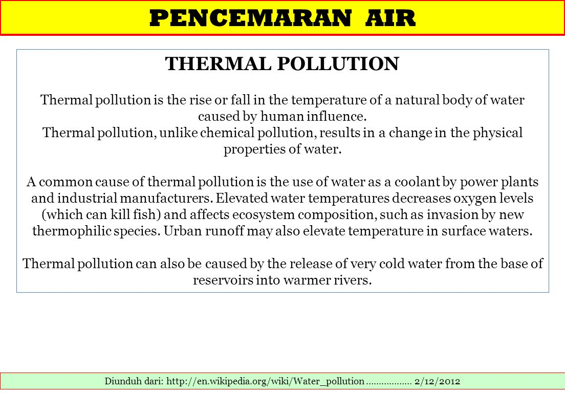 PENCEMARAN AIR THERMAL POLLUTION