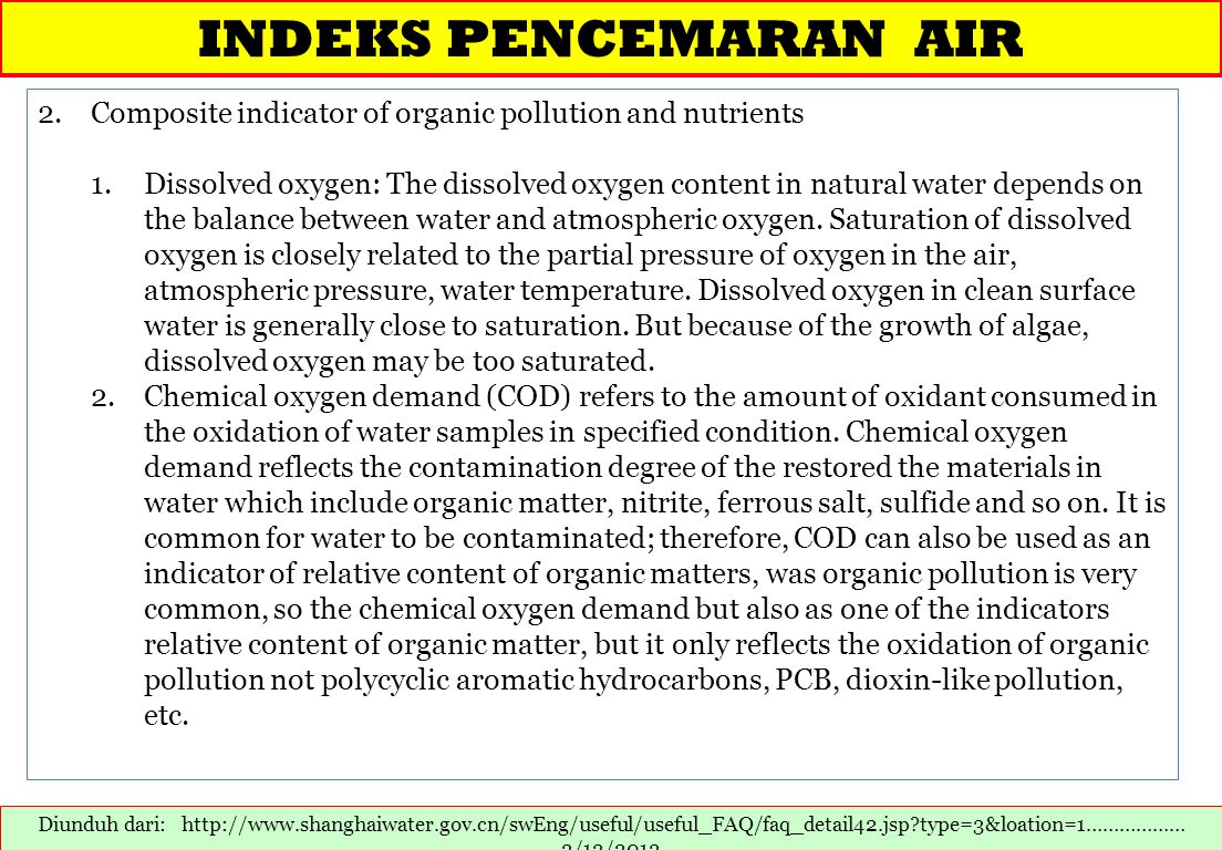INDEKS PENCEMARAN AIR Composite indicator of organic pollution and nutrients.