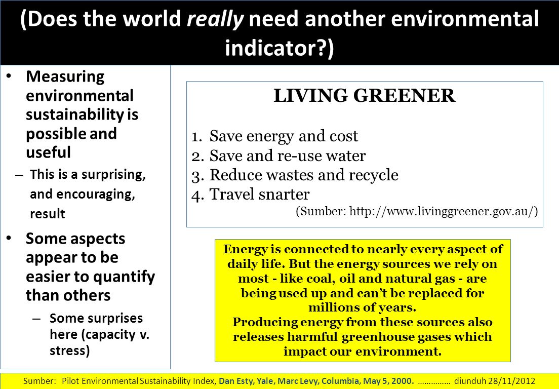(Does the world really need another environmental indicator )