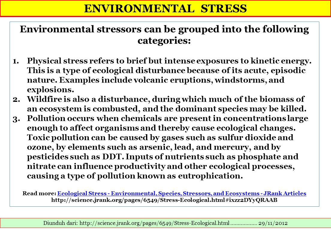 Environmental stressors can be grouped into the following categories: