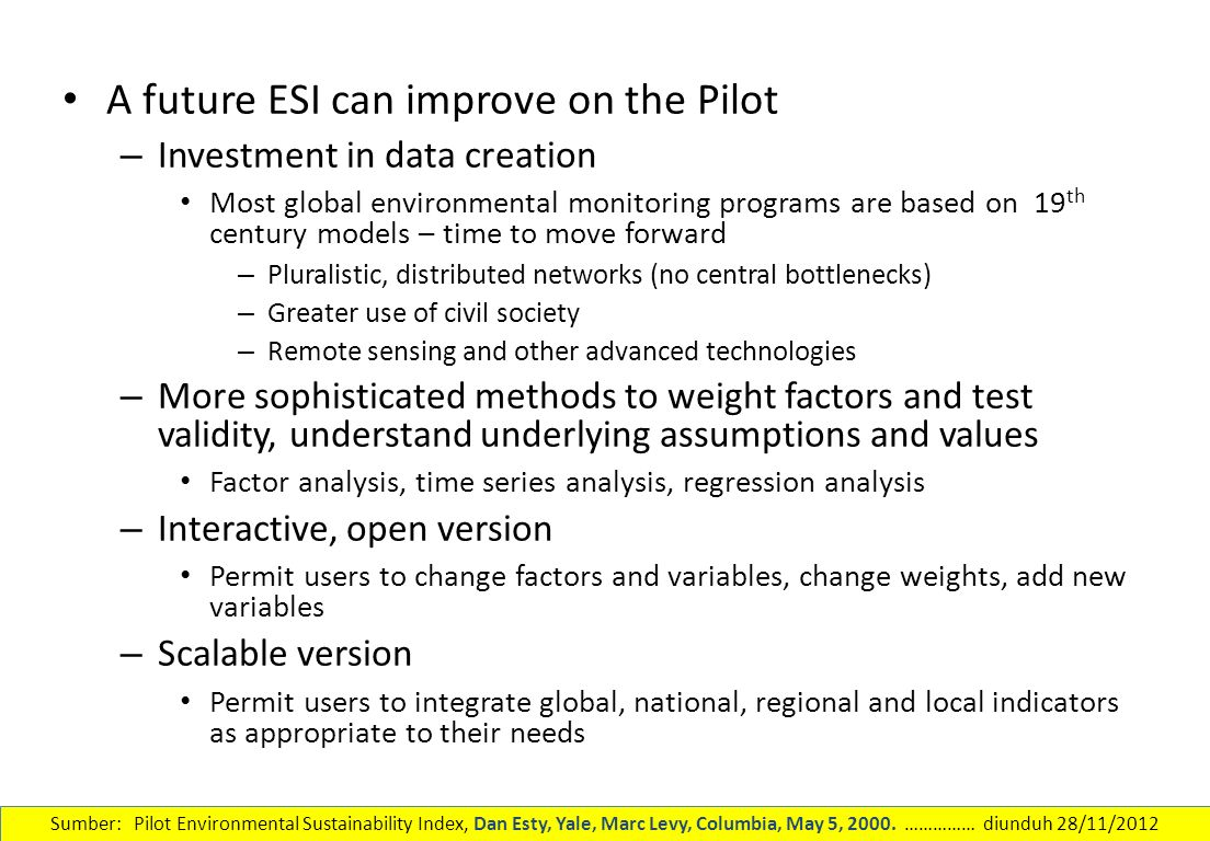 A future ESI can improve on the Pilot