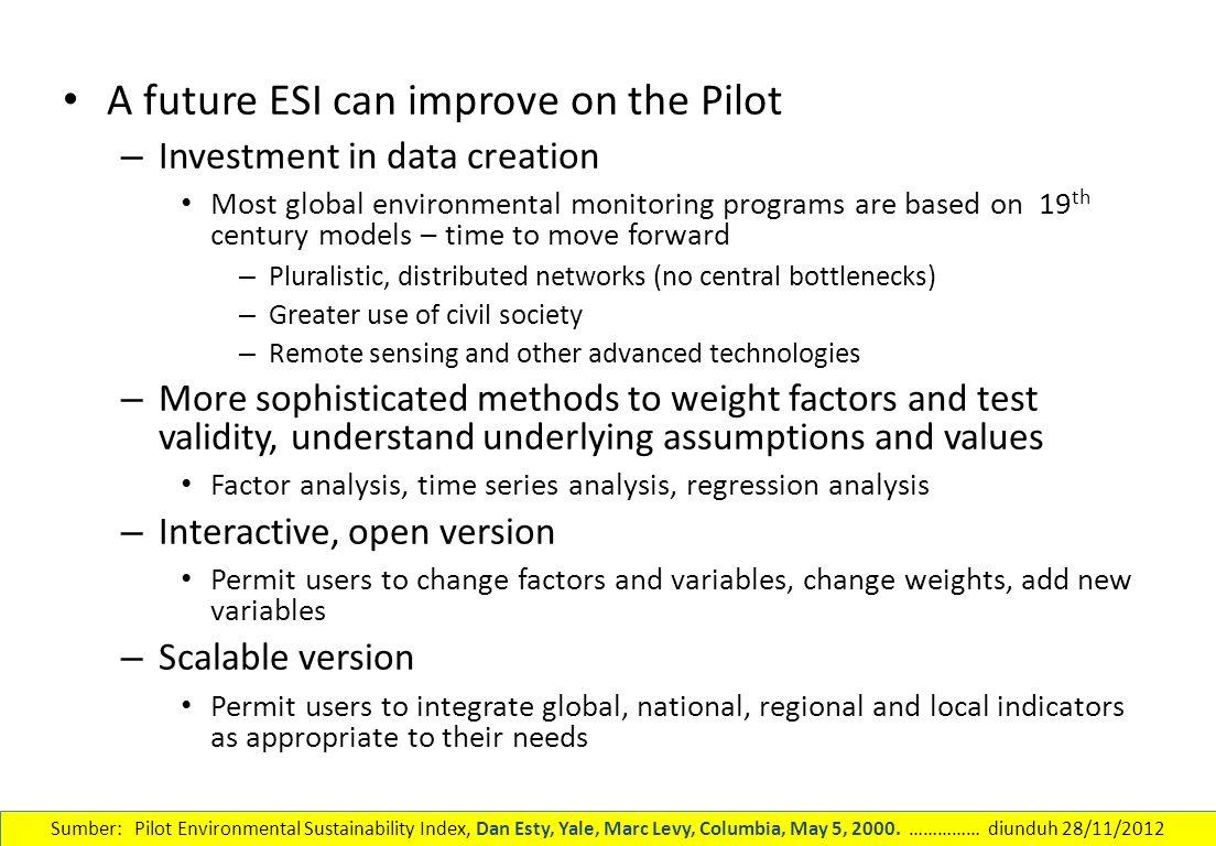 A future ESI can improve on the Pilot