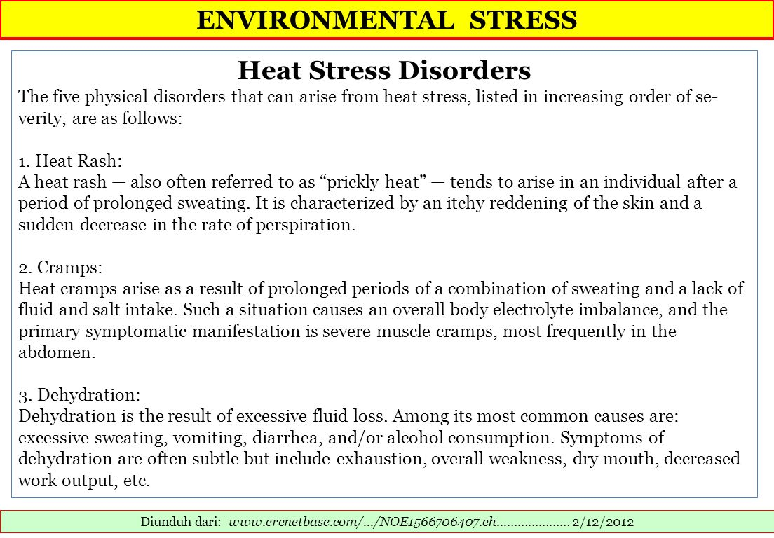 ENVIRONMENTAL STRESS Heat Stress Disorders