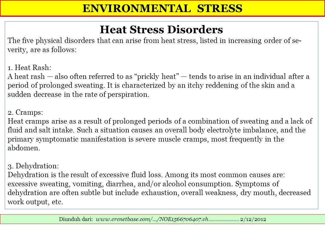 ENVIRONMENTAL STRESS Heat Stress Disorders