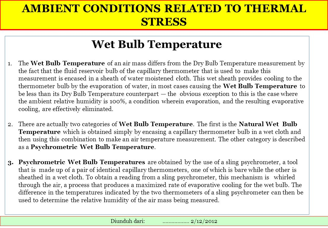 AMBIENT CONDITIONS RELATED TO THERMAL STRESS