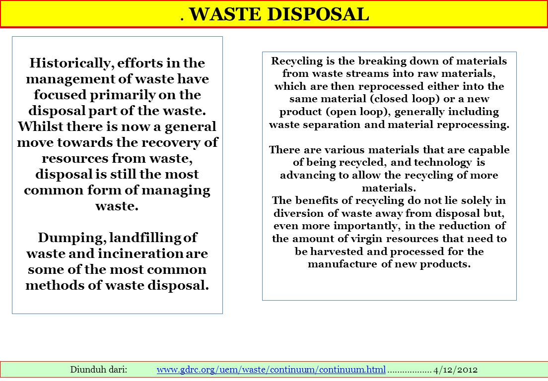 . WASTE DISPOSAL