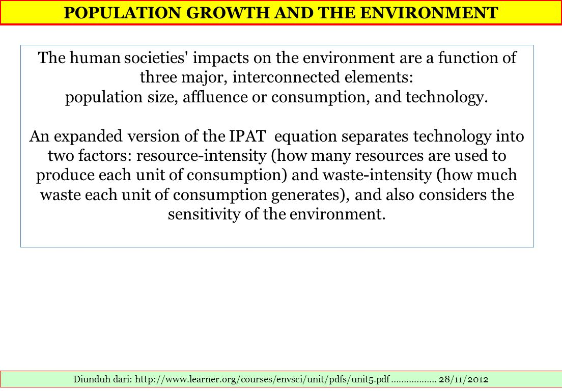 POPULATION GROWTH AND THE ENVIRONMENT