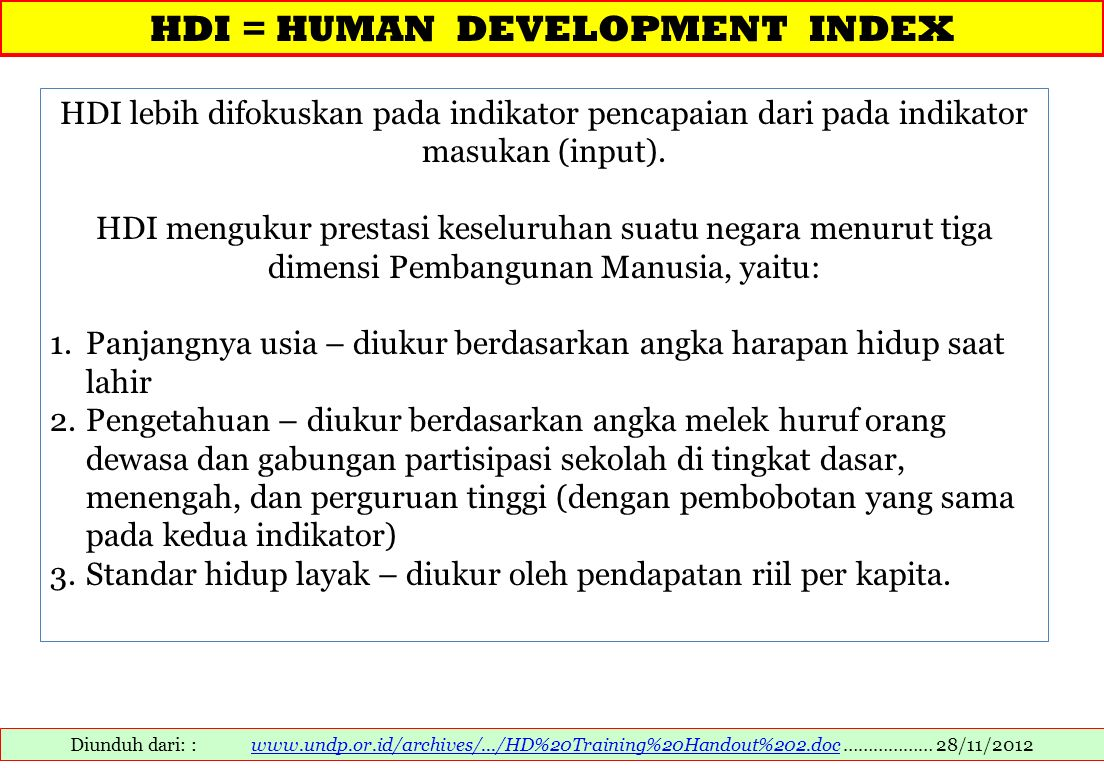 HDI = HUMAN DEVELOPMENT INDEX