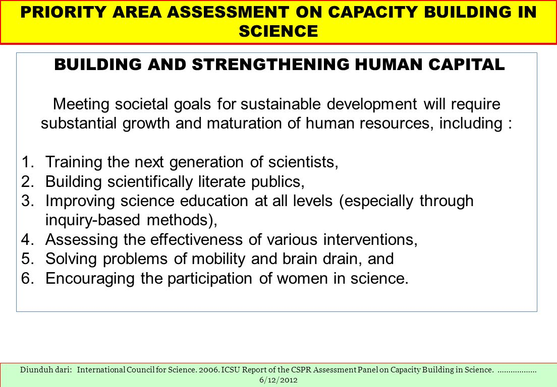 PRIORITY AREA ASSESSMENT ON CAPACITY BUILDING IN SCIENCE