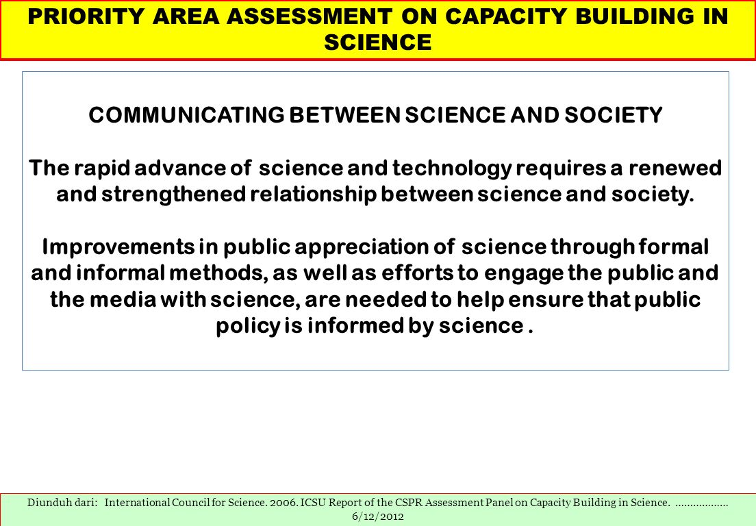 COMMUNICATING BETWEEN SCIENCE AND SOCIETY