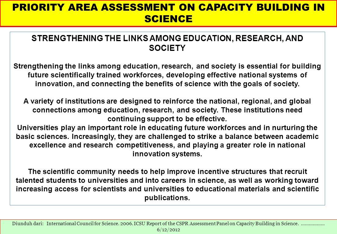 STRENGTHENING THE LINKS AMONG EDUCATION, RESEARCH, AND SOCIETY