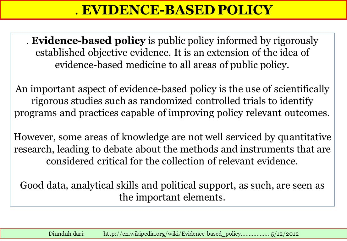 . EVIDENCE-BASED POLICY