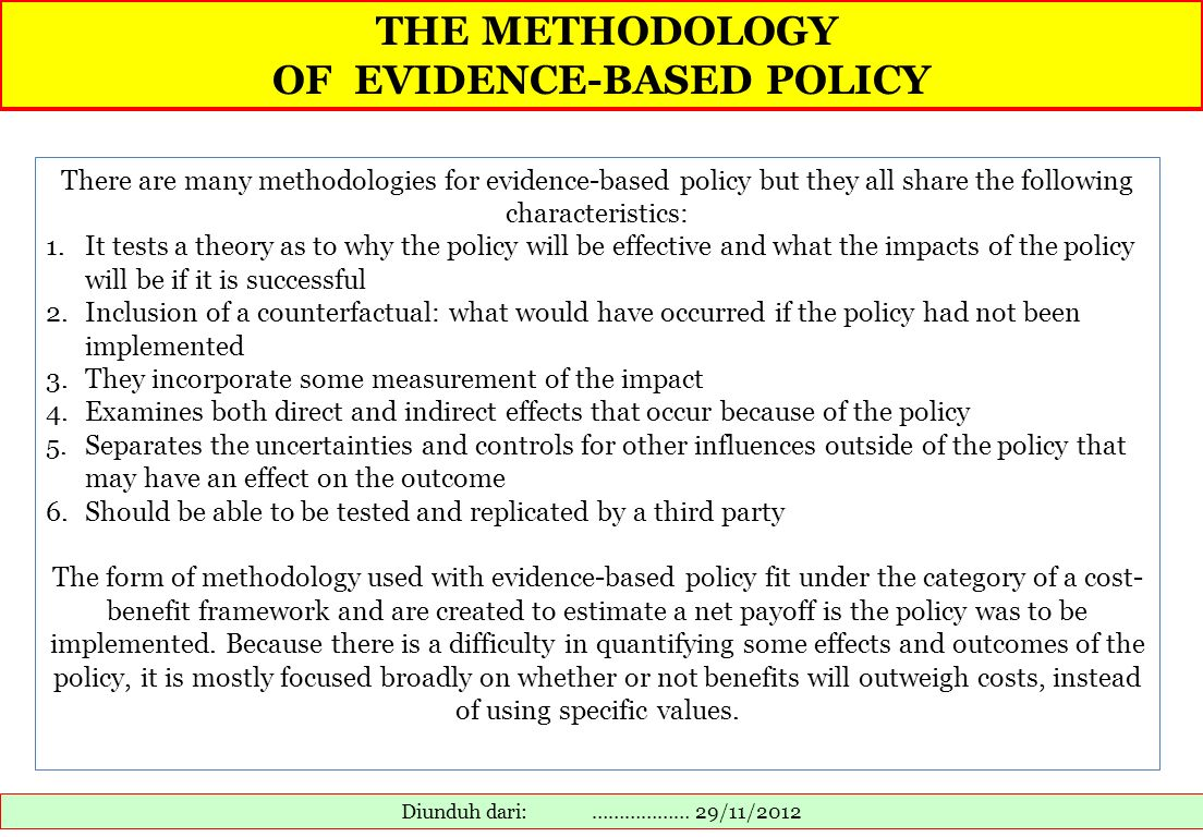 OF EVIDENCE-BASED POLICY