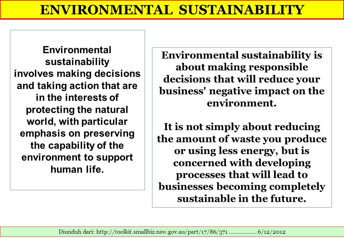 ENVIRONMENTAL SUSTAINABILITY Environmental sustainability