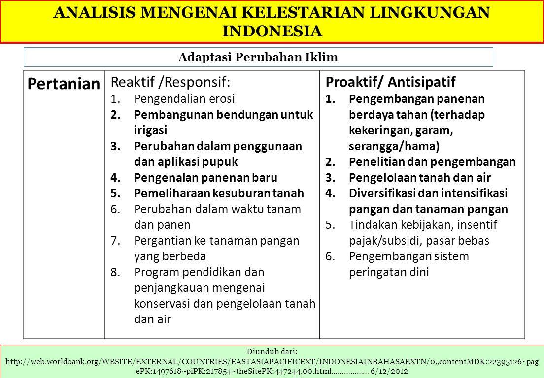 Pertanian ANALISIS MENGENAI KELESTARIAN LINGKUNGAN INDONESIA