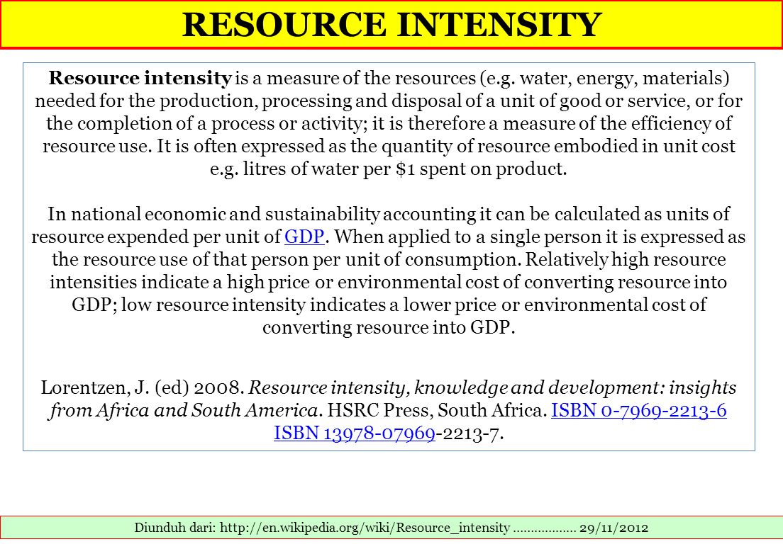 RESOURCE INTENSITY