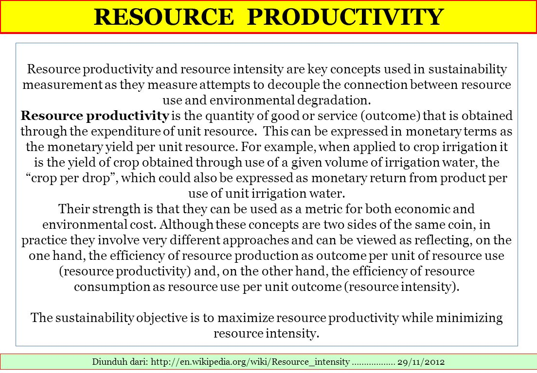 RESOURCE PRODUCTIVITY
