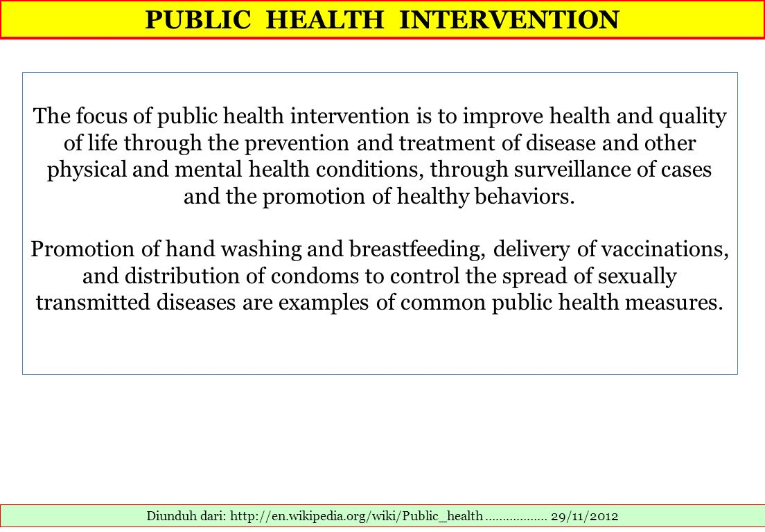 PUBLIC HEALTH INTERVENTION