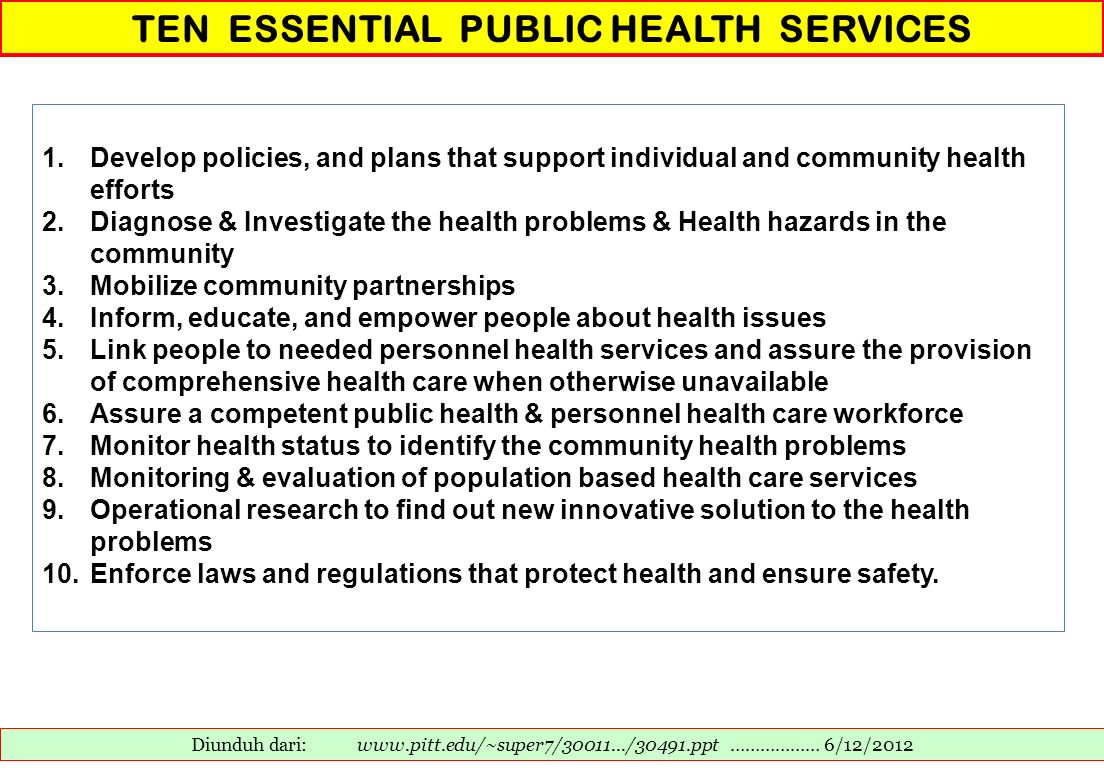 TEN ESSENTIAL PUBLIC HEALTH SERVICES