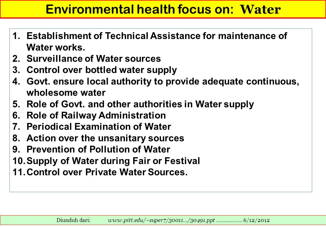 Environmental health focus on: Water