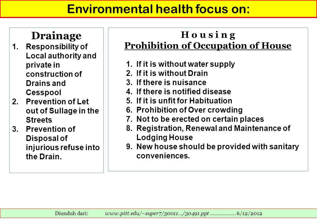 Environmental health focus on: