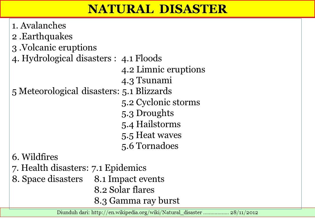 NATURAL DISASTER 1. Avalanches 2 .Earthquakes 3 .Volcanic eruptions