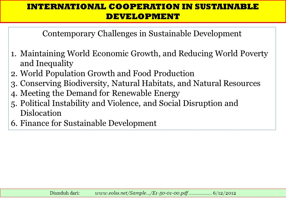 INTERNATIONAL COOPERATION IN SUSTAINABLE DEVELOPMENT