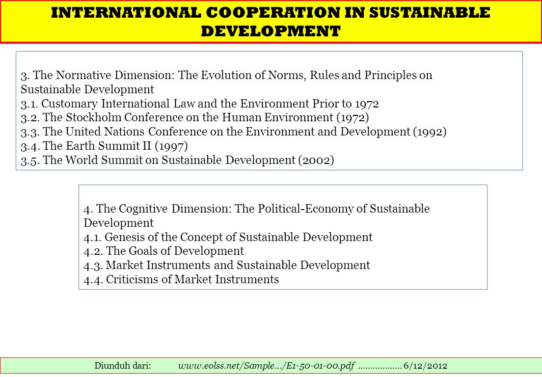 INTERNATIONAL COOPERATION IN SUSTAINABLE DEVELOPMENT