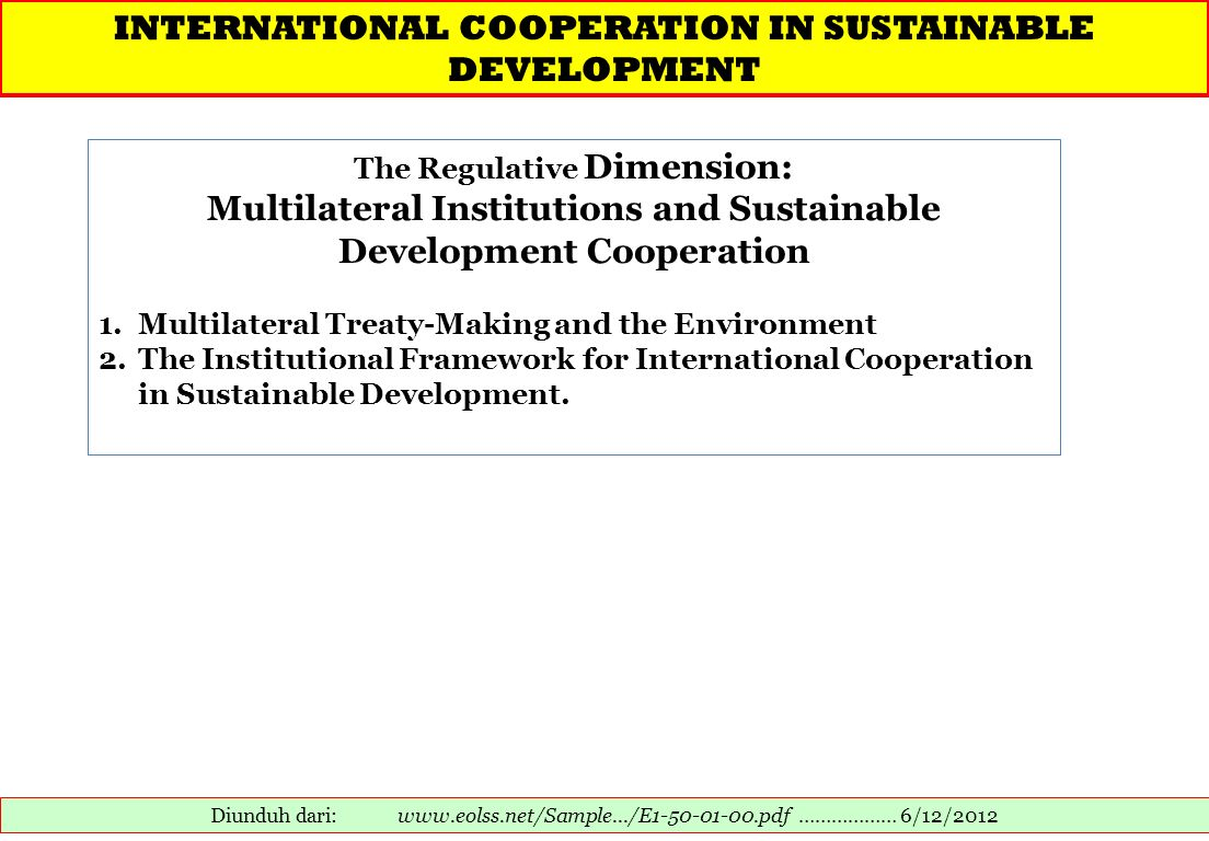 Multilateral Institutions and Sustainable Development Cooperation