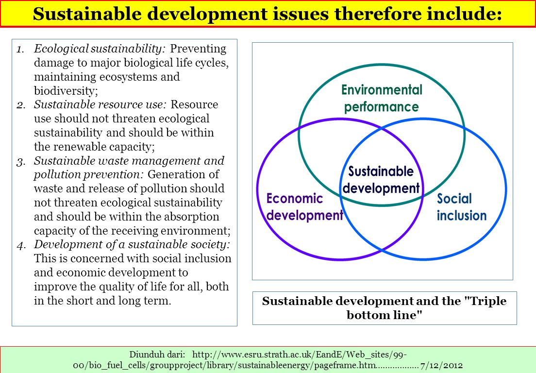 Sustainable development issues therefore include: