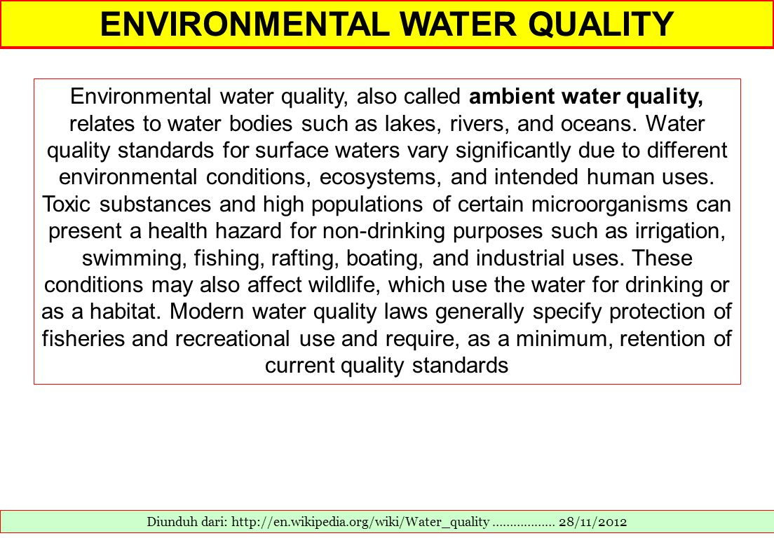 ENVIRONMENTAL WATER QUALITY