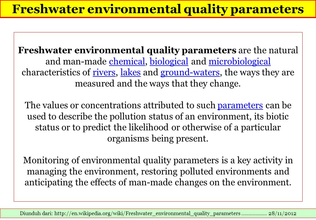 Freshwater environmental quality parameters