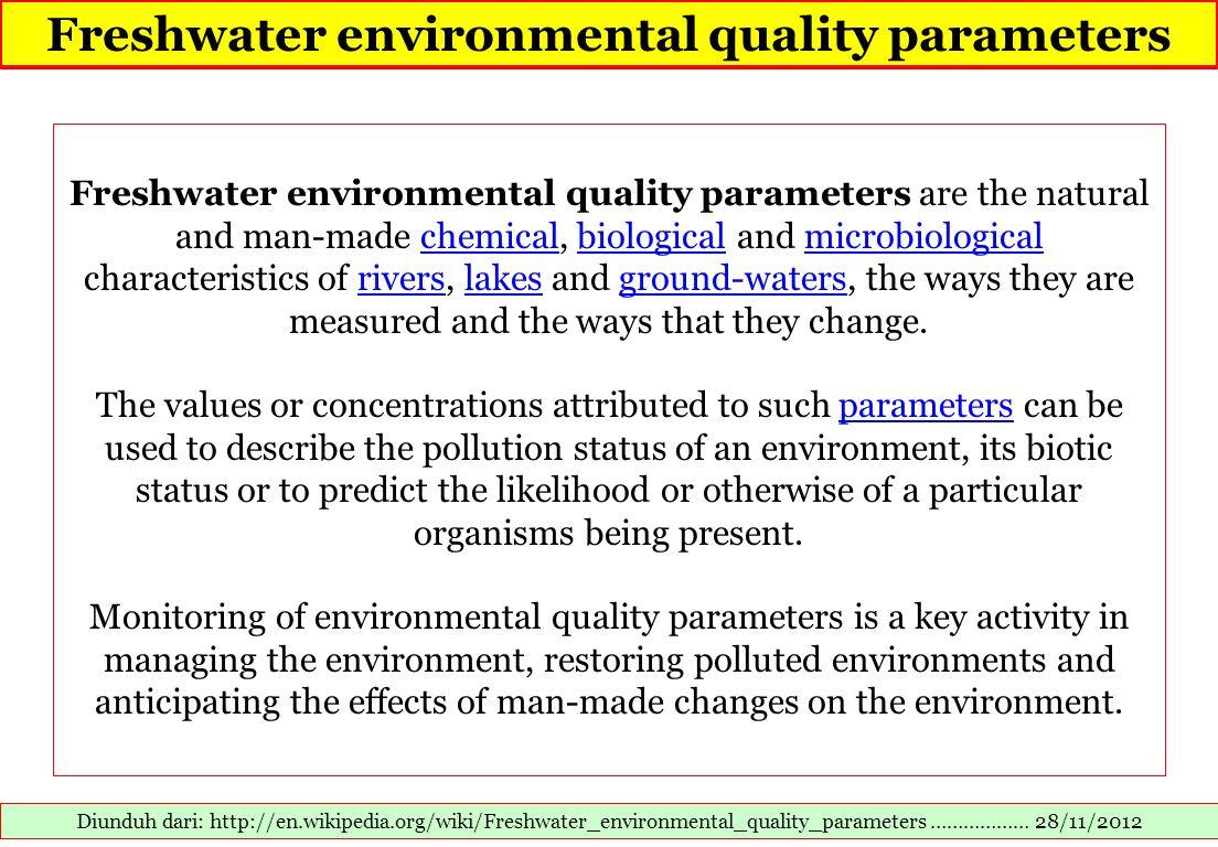 Freshwater environmental quality parameters