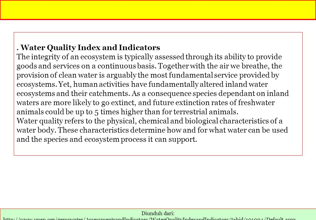 . Water Quality Index and Indicators
