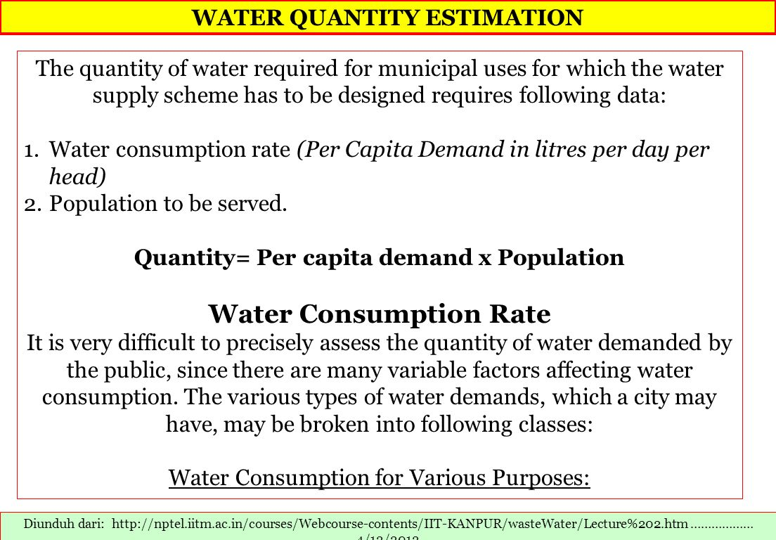 WATER QUANTITY ESTIMATION