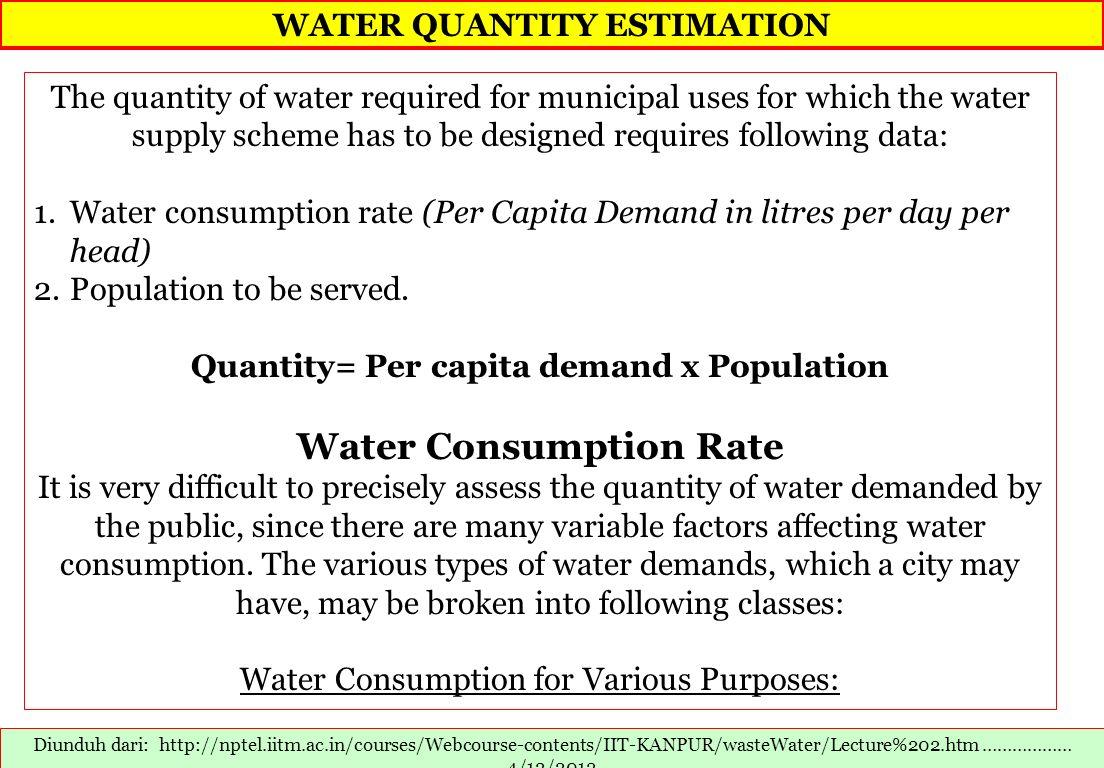 WATER QUANTITY ESTIMATION