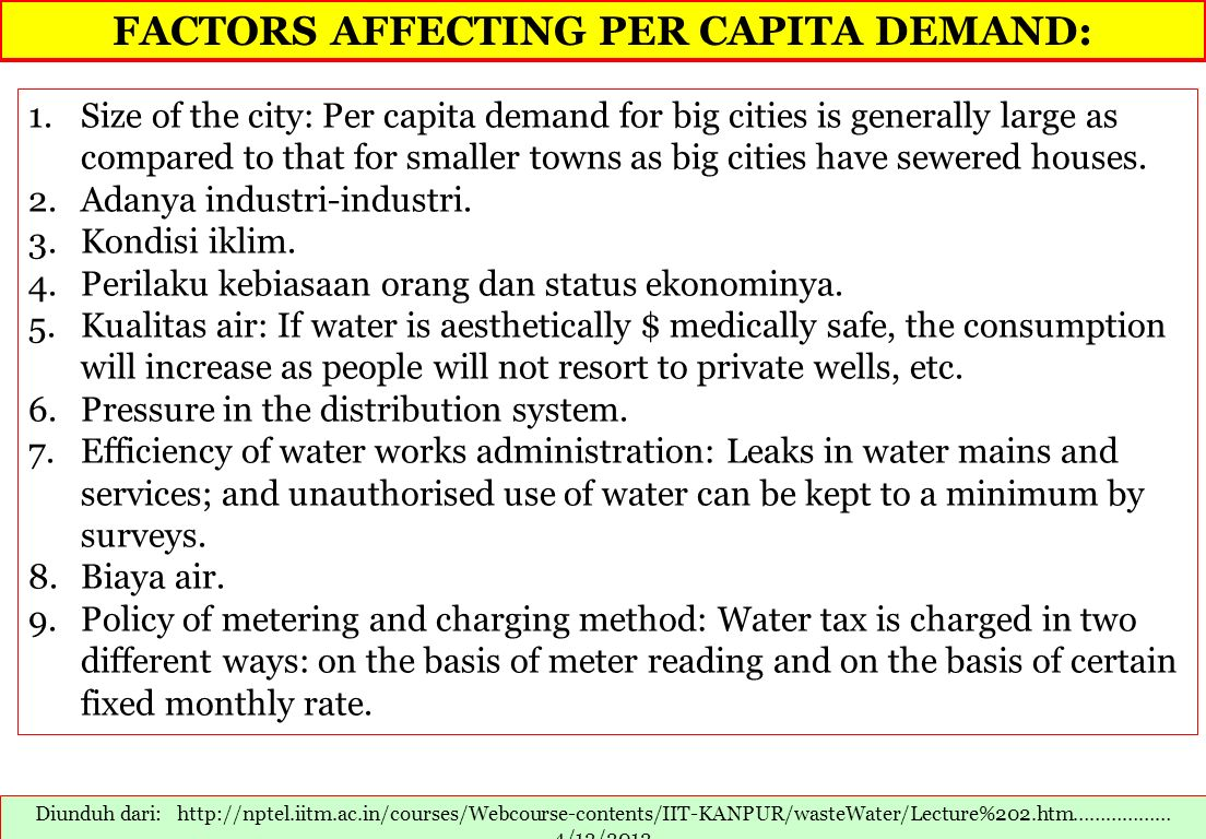 FACTORS AFFECTING PER CAPITA DEMAND: