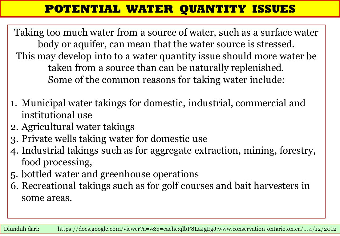 POTENTIAL WATER QUANTITY ISSUES