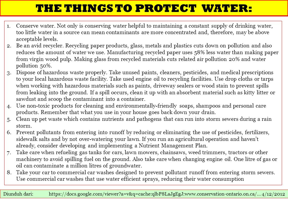 THE THINGS TO PROTECT WATER: