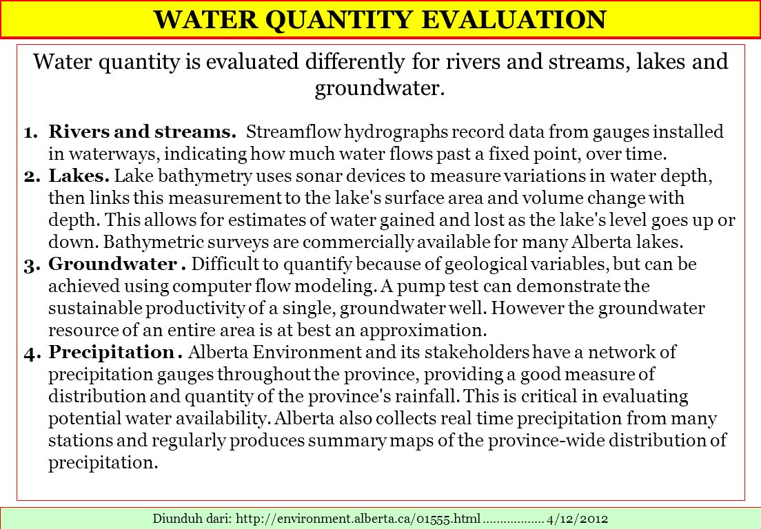 WATER QUANTITY EVALUATION