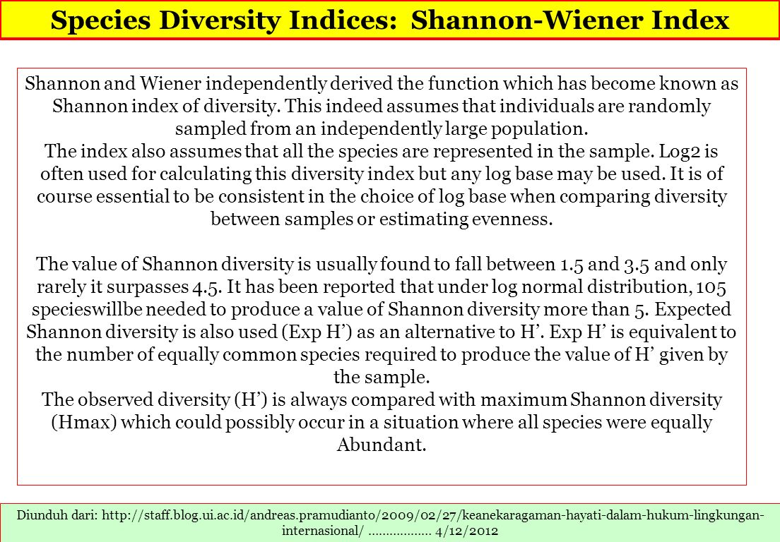 Species Diversity Indices: Shannon-Wiener Index