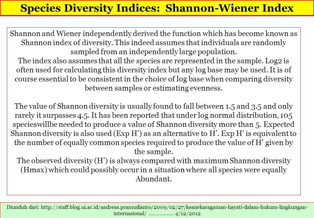 Species Diversity Indices: Shannon-Wiener Index