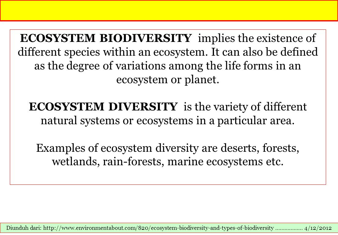 ECOSYSTEM BIODIVERSITY implies the existence of different species within an ecosystem. It can also be defined as the degree of variations among the life forms in an ecosystem or planet.