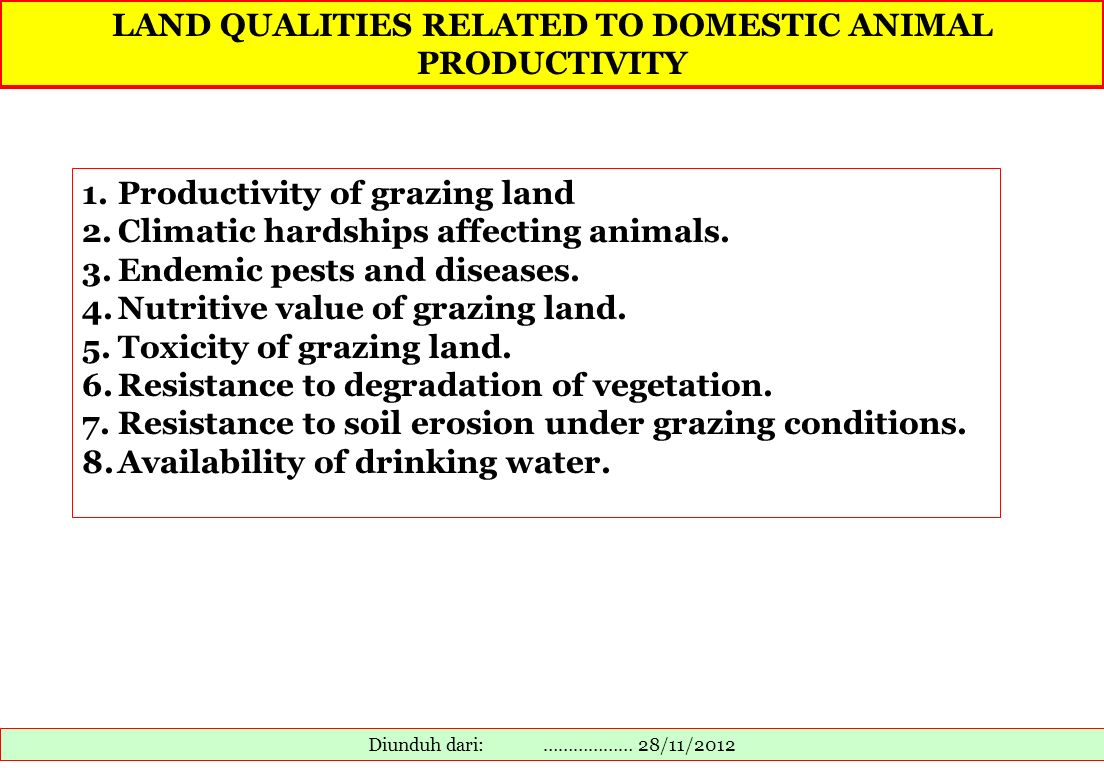 LAND QUALITIES RELATED TO DOMESTIC ANIMAL PRODUCTIVITY