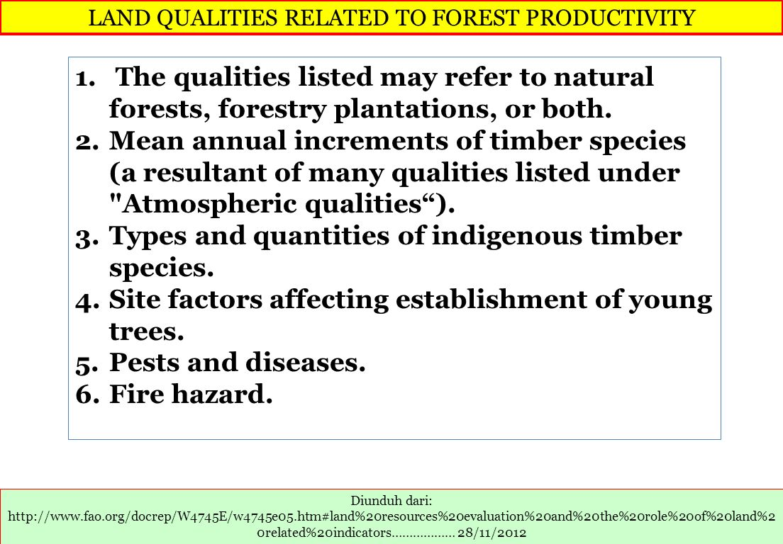 LAND QUALITIES RELATED TO FOREST PRODUCTIVITY