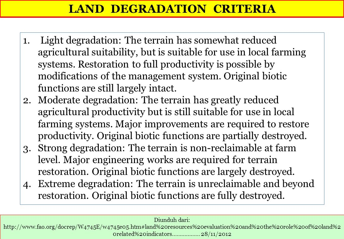 LAND DEGRADATION CRITERIA