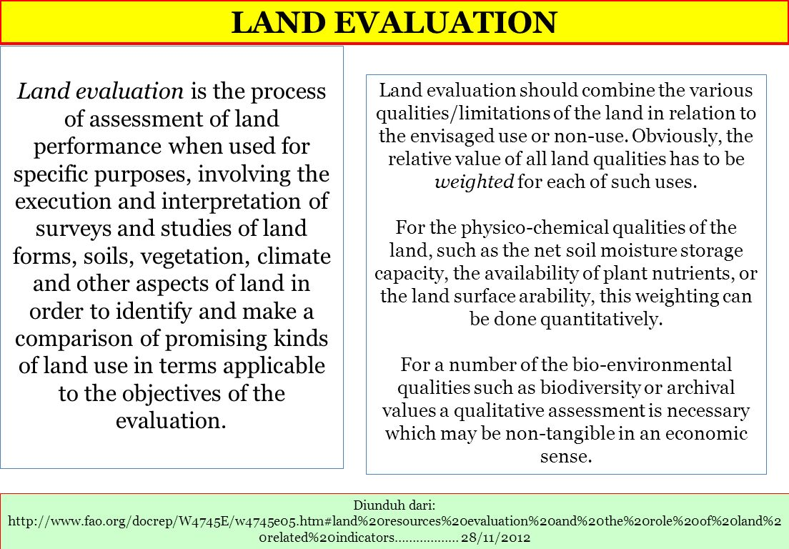 LAND EVALUATION